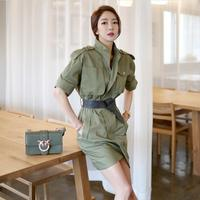 Only green Women Solid Color Belt Elegant Pocket Vintage OL New Tunic Bodycon Pencil Dress Casual Buttom Vestidos Drop Shipping