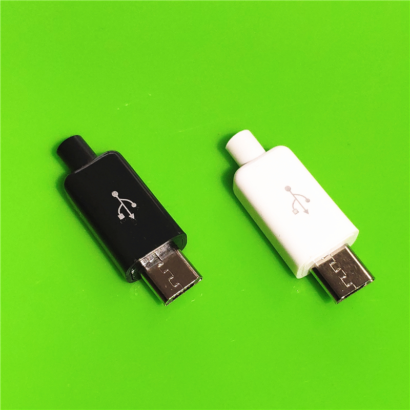 <font><b>10PCS</b></font>/LOT YT2153 Micro <font><b>USB</b></font> 4Pin Male <font><b>connector</b></font> plug Black/White welding Data OTG line interface DIY data cable accessories image