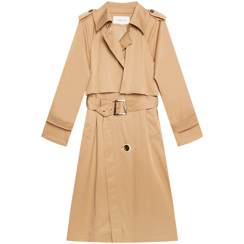 Belt Manches Trench Longue 9607 coat Turn Angleterre Ceinture With Femmes Automne 2019 Collar Style Pleine Dernière Yigelila down Solide Large taille avZRwxg
