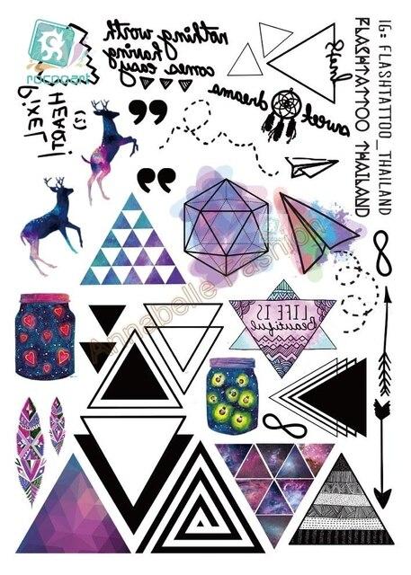 RU2PCS A6080-207 большой черный tatuagem Тати Средства ухода за кожей Книги по искусству Временные татуировки Наклейки Цветной олень Треугольники стрелка блеск татуировки Стикеры