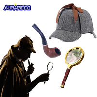 Sherlock Holmes Costume Sherlock Detective 3 piece Set Accessories Hat Deerstalker Pipe Magnifier Glass Victorian Halloween Prop