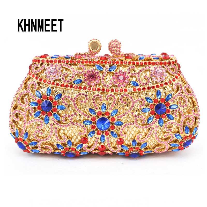 Royal blue Box Evening Bag Holiday Party handbag women purse Pink Flower Ladies crystal Diamond Clutch bag SC293 -B