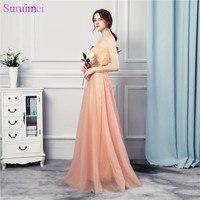 Wedding Party Girl Bridesmaid Dresses Beaded Long Floor Length Soft Tulle Peach Orange Sweetheart Vestidos De