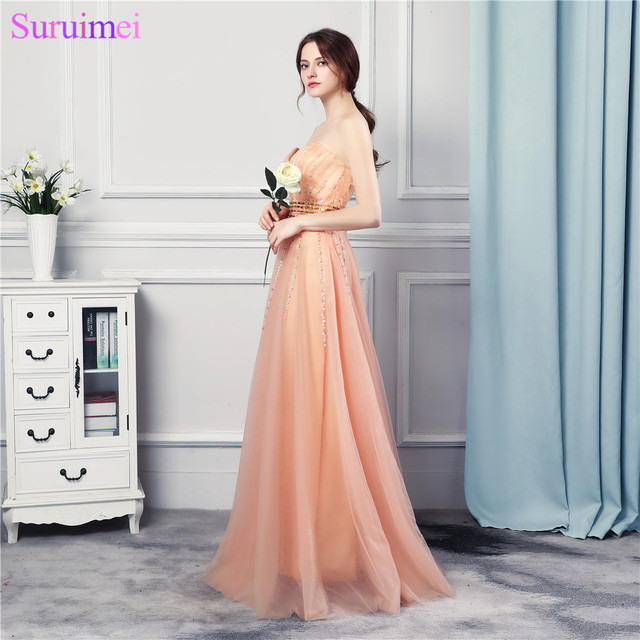 Wedding Party Girl Bridesmaid Dresses Beaded Long Floor Length Soft Tulle  Peach Orange Sweetheart Vestidos De Brides Maid Dress 748062c9ee1e