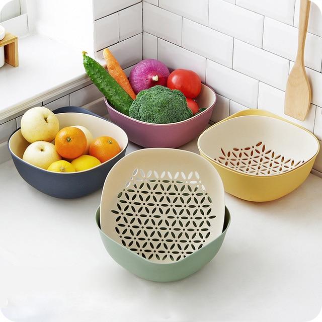 Us 12 04 23 Off 2018 New Fruit Washing Basket Plastic 2 In 1 Storage Basket Kitchen Wash Vegetable Drain Basket Fruit Household Fruit Bowl A 163 In