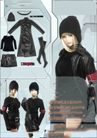 1/6 Black Female Leather Overcoat Costume Set for 12 Collectible Action Figure DIY