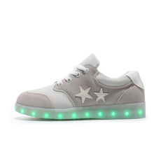LED shoes new Fashion 2017 adult fluorescent light-emitting USB charging Shoes men and Unisex Casual Charging Light UP shoes