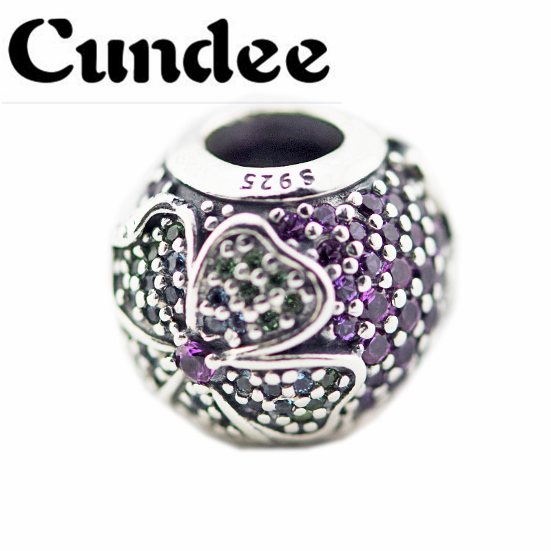 2018 Spring 925 Sterling Silver Jewelry Shiny Glorious Bloom Charm With Clear CZ Bead Fits pandora Charm Bracelets Accessories