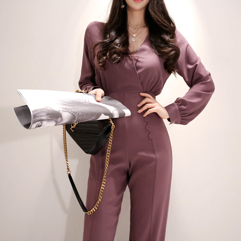 Elegant V-neck Women Business Jumpsuits Stylish Office Lady  Female Wide Leg Pant Playsuit 2019