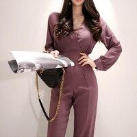 Elegant V neck Women Business Jumpsuits Stylish Office Lady Female Wide Leg Pant Playsuit 2019