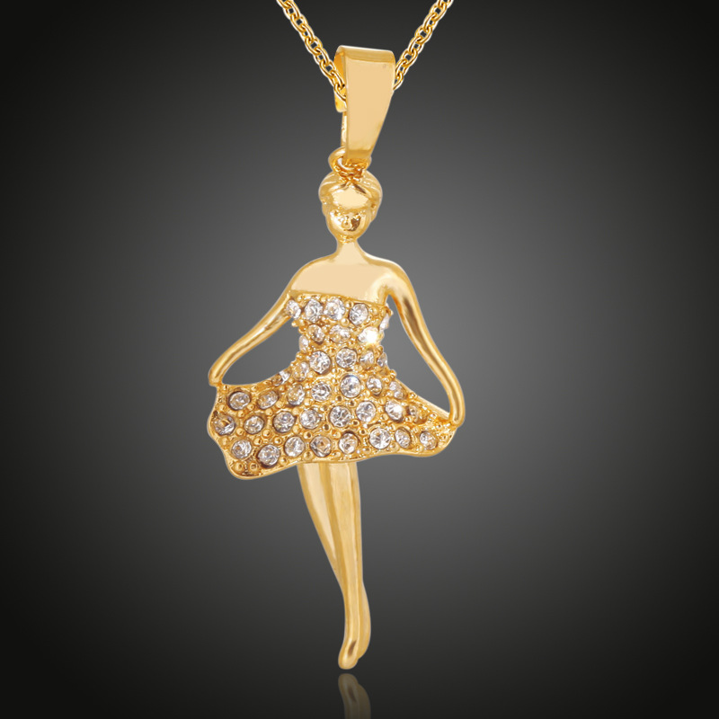 Ballet Fille Cristal Collier Pendentif Chandail Chaîne Femmes Accessoires Fashion