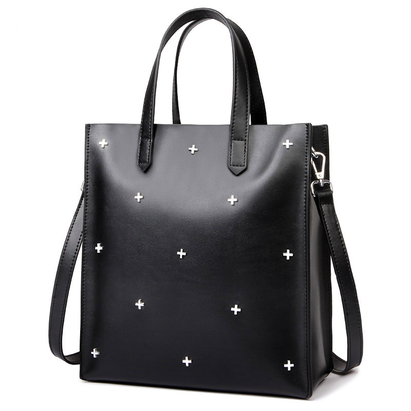 Fashion shopping bag shaped women handbags atmosphere simple rivets women bag decoration Genuine Leather shoulder bag new leather women bag white fashion satchel simple atmosphere retro handbag speedy bag