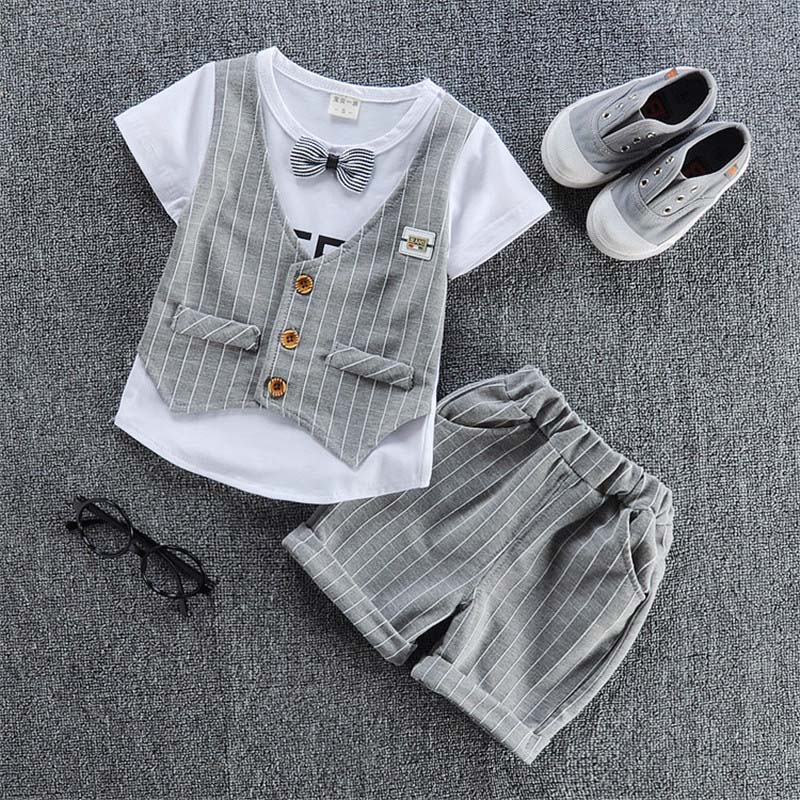 BibiCola Baby Boys Clothes Set Summer Kids Boys Clothing Sets Plaid Tops+Pants 2pcs Suit Boy Tracskuit for Bebe Clothes тапочки smart textile тапочки