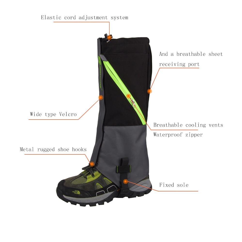 Camping Hiking Snow Leg with 2 Layers Waterproof Gaiters For Skate Skiing Walking Shin Leg Protect Equipment 2pcs
