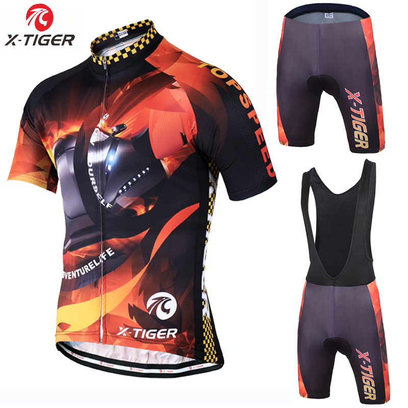 X-Tiger Brand Cycling Set Breathable Racing Bicycle Jersey Maillot Ropa Ciclismo Quick-Dry Short Sleeve Mans Bike Clothing 2017 breathable quick dry bike ropa ciclismo skintight short sleeve cycling jersey clothes gel pad bicycle cycling clothing