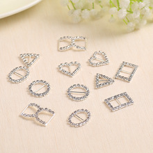 10pcs Mix design Variety Crystal rhinestone Buckles Invitation card Ribbon Slider For Wedding and DIY Hair Accessories(China)