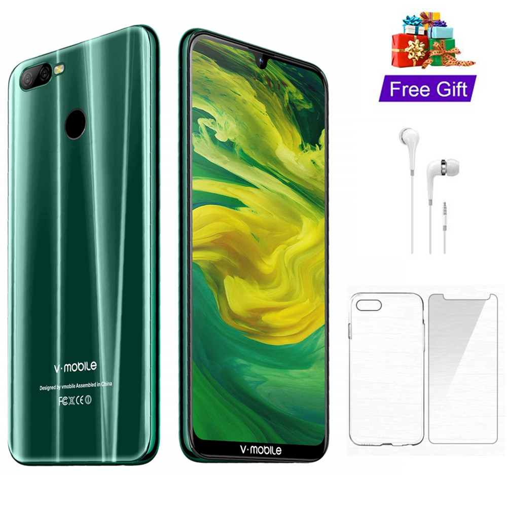 "4G LTE 4GB RAM 64GB ROM TEENO Vmobile M9 Mobile Phone Android 8.1 6.26"" Full Screen 4800mAh Fingerprint Smartphone cell phone"