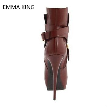 коричневые сапоги на шпильке   Коричневые женские ботильоны из искусственной замши на высоком каблуке, женские полусапожки на платформе с открытым носком и пряжкой, женс...