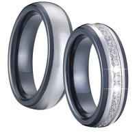 Lusso nero argento colore ceramica titanium coppie anelli di nozze set di fidanzamento paio gioielli cubic zirconia