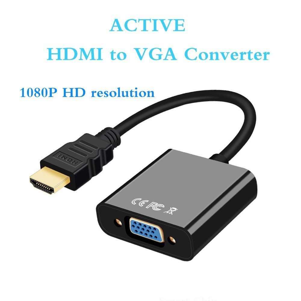 Perlinta aktywnych HDMI do adapter VGA pozłacane 1080 P, cyfrowy na analogowy konwerter męski na żeński kabel wideo Plug And Play