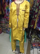 (Free Transport)African males's clothes design Robes design twopiece costume african  bazin good embroidery males shirt with trouser