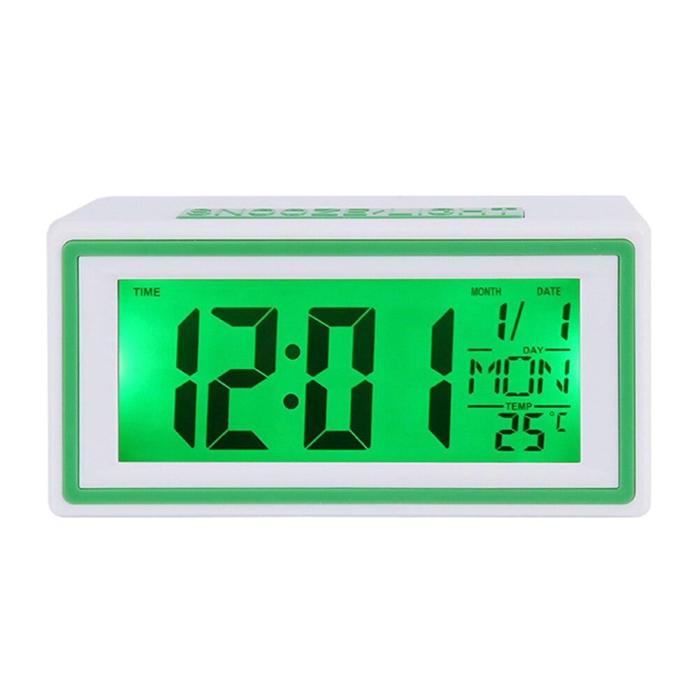 Pequena Viagem Digital Alarm Clock Voz Som-Ativado Controle Backlight Secretária Relógio de Mesa Calendário Temporizador Termômetro de Temperatura