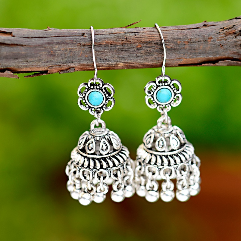 Jewelry & Accessories Honest Oiquei Antique India Jhumka Flower Carved Drop Earring Gypsy Jewelry Bohemian Ethnic Tradition Bell Dangling Earrings For Women Harmonious Colors