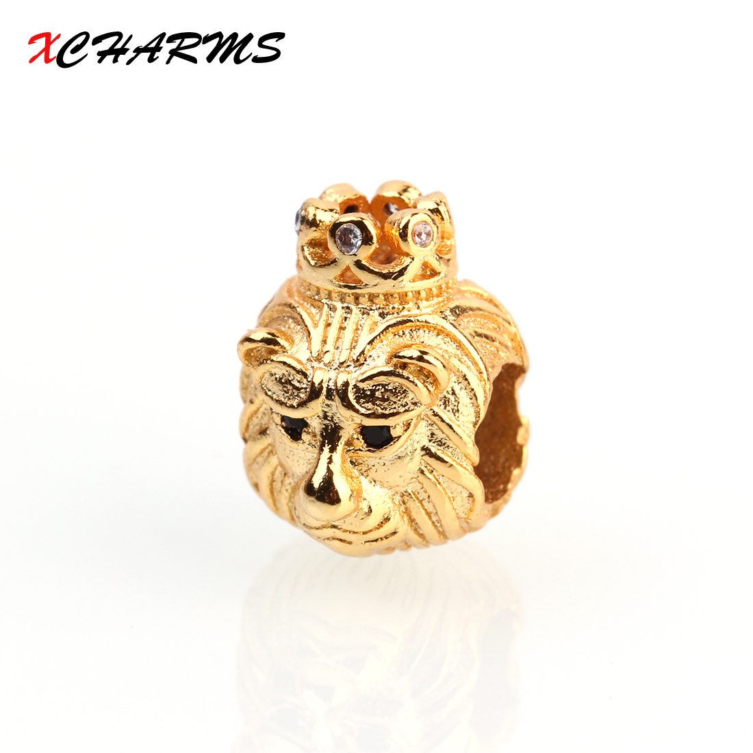 XCHARMS 13*10mm Black CZ Lion head Spacer Beads Diy Copper Beads for Bracelets Jewlery Making Materials Findings Wholesale