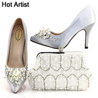 Hot Artist Italian Design Shoes And Special Nice Purse Set African Pumps Shoes And Bag Set