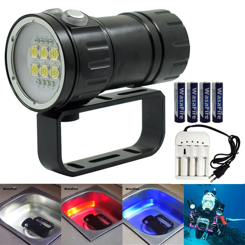 Diving 6*9090 XM-L2 White+4*Red+4*Blue LED Diving Flashlight Underwater Video Light Photo Dive Torch Light 18650 Battery Charger 18000 lumens 9 l2 led diving flashlight waterproof lamp lamp work underwater torch diving light 4 18650 battery charger