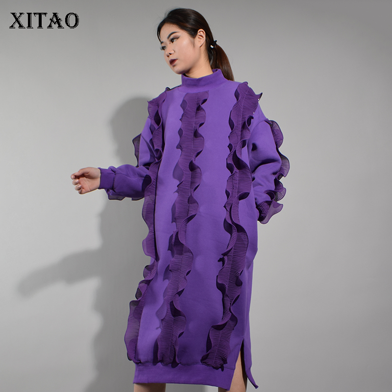 XITAO  20018 Spring Korea Fashion Women Solid Color 3D Decoration Mid-Calf Dress  Female Full Sleeve Stand Collar Dress XWW3613 9a3c2bb5f78d