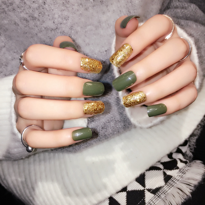 Gold Glitter Sequins Press On Nails Green Shiny Lady Fake Nails ...
