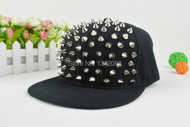 ed7b4003378 Unisex Silver Gold Rivet Spike Stud Baseball Cap Snapback Punk Rock Hiphop  Street Dancing Hat