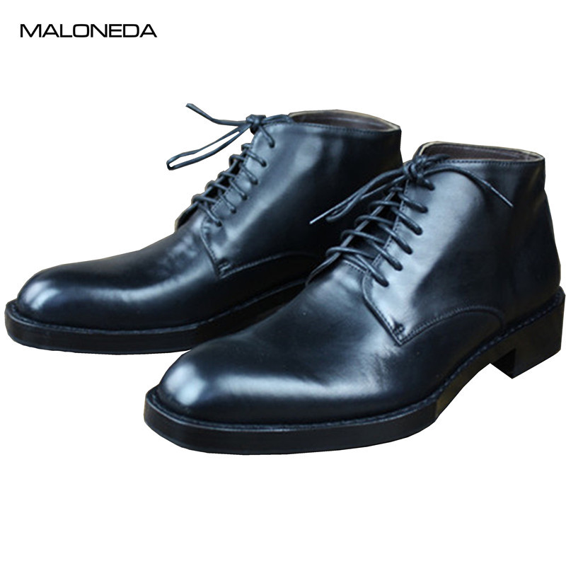 MALONEDE Bespoke Black Goodyear Handmade Ankle Boots Genuine Cow Leather Sole for Male Formal Dress Footwear MALONEDE Bespoke Black Goodyear Handmade Ankle Boots Genuine Cow Leather Sole for Male Formal Dress Footwear