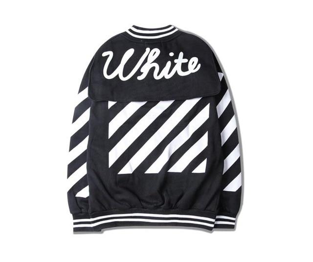Естественная белизна диагональные полосы ретро бейсбол равномерное куртка бейсбол куртка для мужчин и женская одежда High Street
