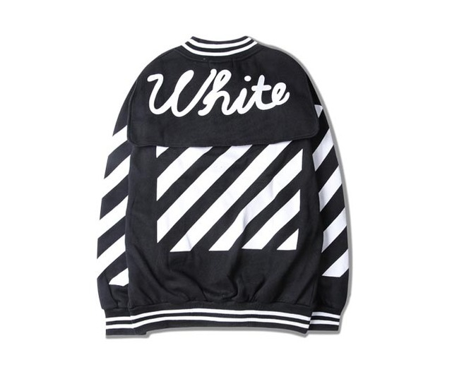 offwhite diagonal stripes retro baseball uniform jacket baseball jacket for men and women clothing High Street
