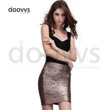 Free Shipping!!! Top Quality Women's Fashion Foil Print Knee Length fashion Bandage Skirt