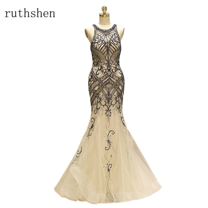 ruthshen Vestidos De Gala Largos Sleeveless   Prom     Dresses   Delicate Beaded Long Party Gowns Elegant Mermaid Formal   Prom     Dress