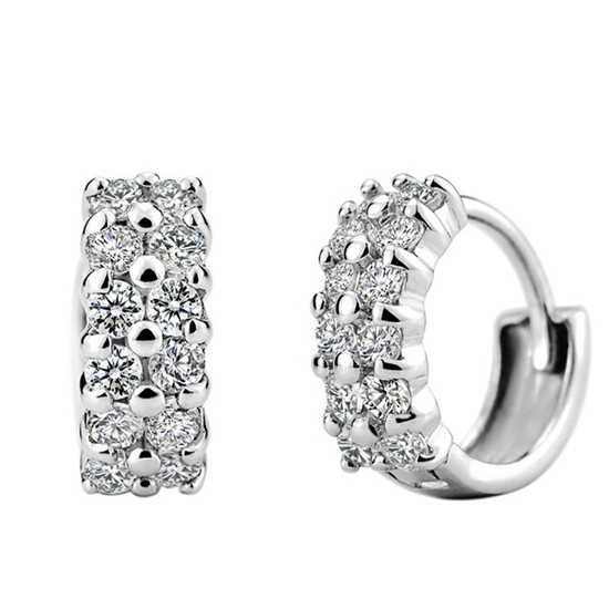 MISANANRYNE 1Pair Fashion Ladies Silver Color Zircon Round hoop Earrings For Women Hot Selling