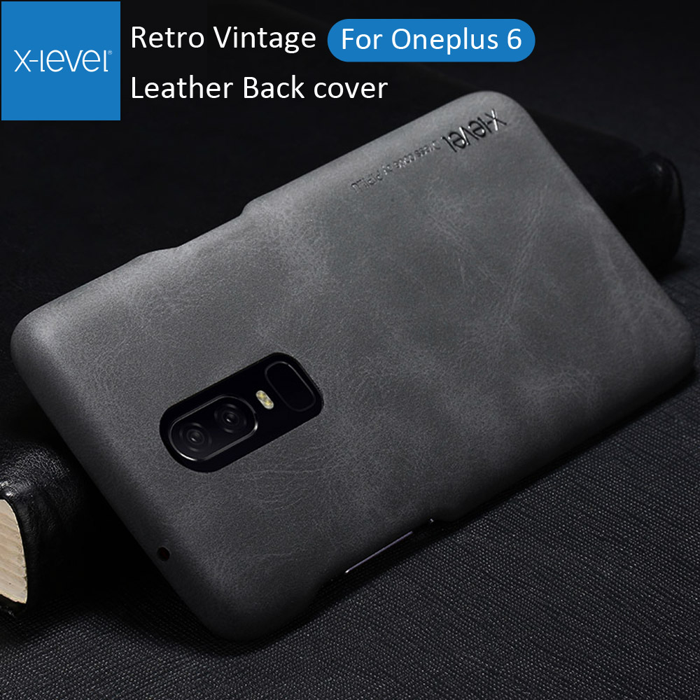 X-Level Vintage Cover Case For Oneplus 6 Retro X Level Matte Frosted Leather Back Protective Shell