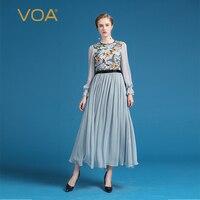 VOA Высокая талия плюс размеры Шелковый шифон сетки вышивка для женщин пляжное платье китайский стиль Плиссированное длинное платье дамы ос
