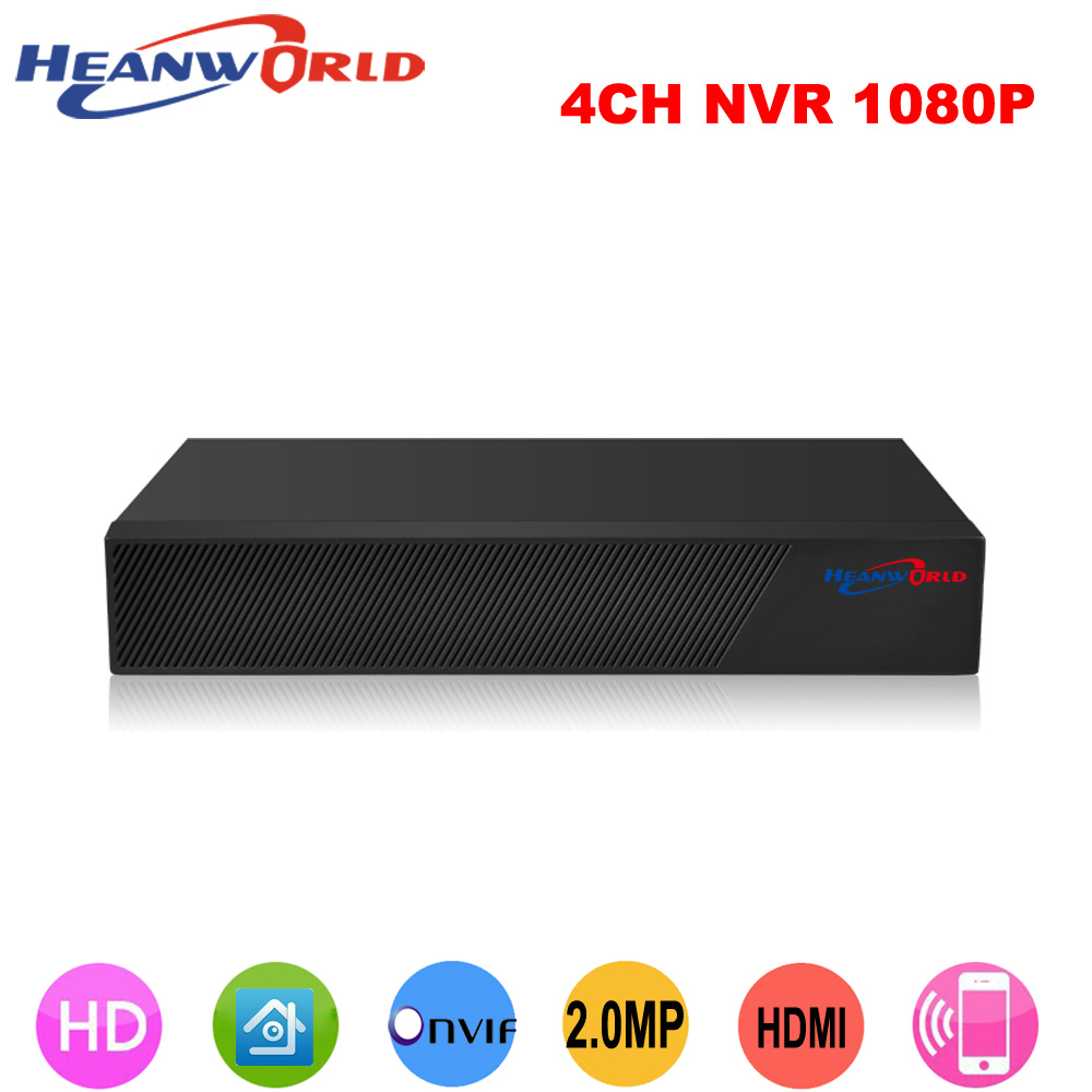 Heanworld CCTV 4CH NVR Onvif H.264 HDMI High Definition 1080P Full HD 4 channel Network Video Recorder For IP Camera system jivision mini full hd 4 channel security cctv nvr 1080p 4ch onvif 2 0 for ip camera system 1080p h 264 video recorder ip dvr p2p