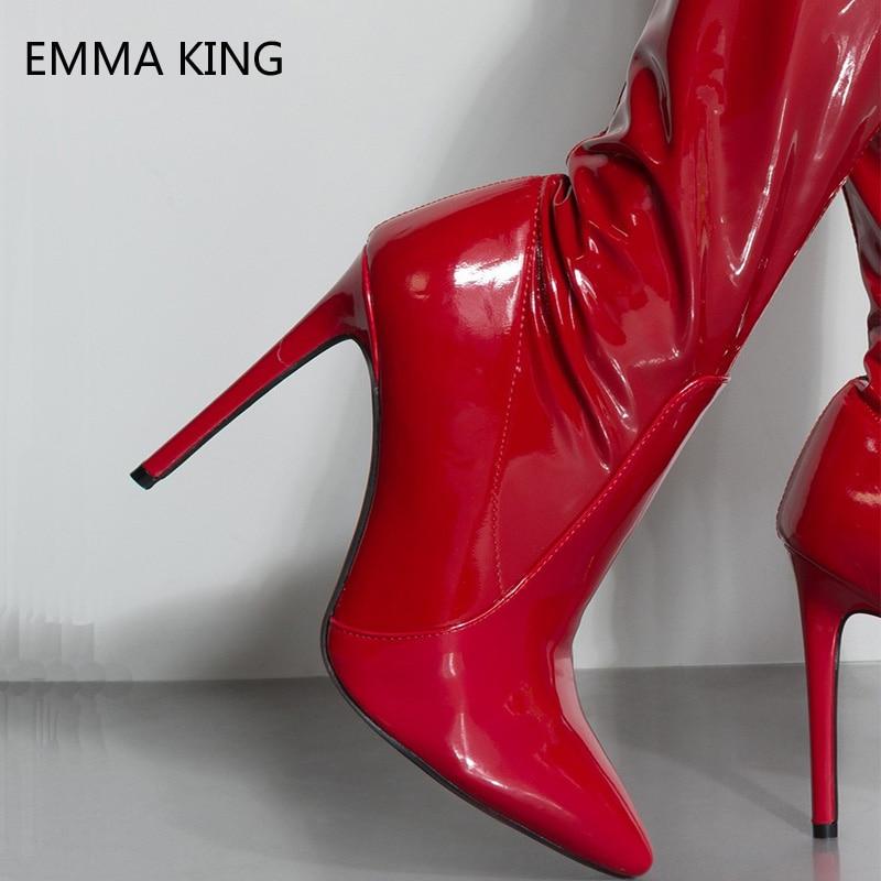 Talons Cuir En Slip Picture Femme Souple Genou Haute Bottes Haut Automne Zip Chaussures Femmes As sur Taille Rouge Grande Stiletto Mode 43 D'hiver qBvTTP