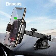 Baseus qi carregador de carro sem fio para iphone x samsung inteligente sensor infravermelho rápido wirless carregamento dashboard telefone do carro suporte