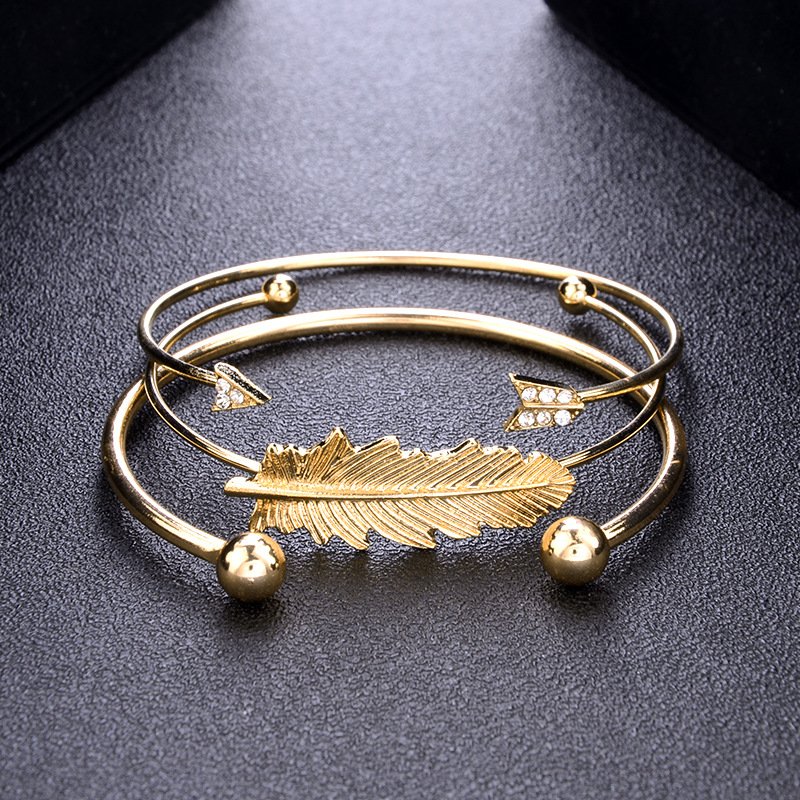 Sitaicery 3PCS Set Fashion Crystal Arrow Leaves Gold Bracelet Set Bohemian Friendship Women 39 s Bracelet Vintage Jewelry Wholesale in Bangles from Jewelry amp Accessories