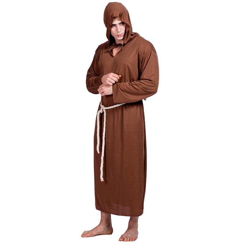 Monk Costume Movie Cosplay Costume Jedi Master Warrior Obi-Wan Kenobi Robe Medieval Renaissance Priest Cloak Cape Tunic