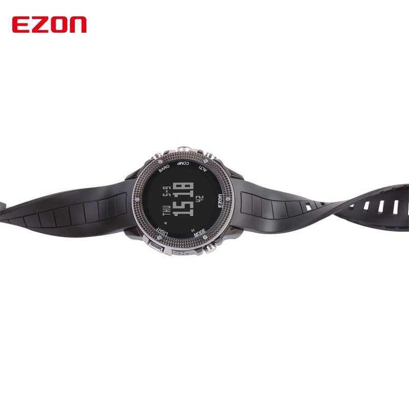 ดิจิตอล Multifuncti นาฬิกาเครื่องวัดระยะสูงเข็มทิศเข็มทิศและสแตนเลสสำหรับเดินป่ากลางแจ้ง 50M กันน้ำ EZON H501