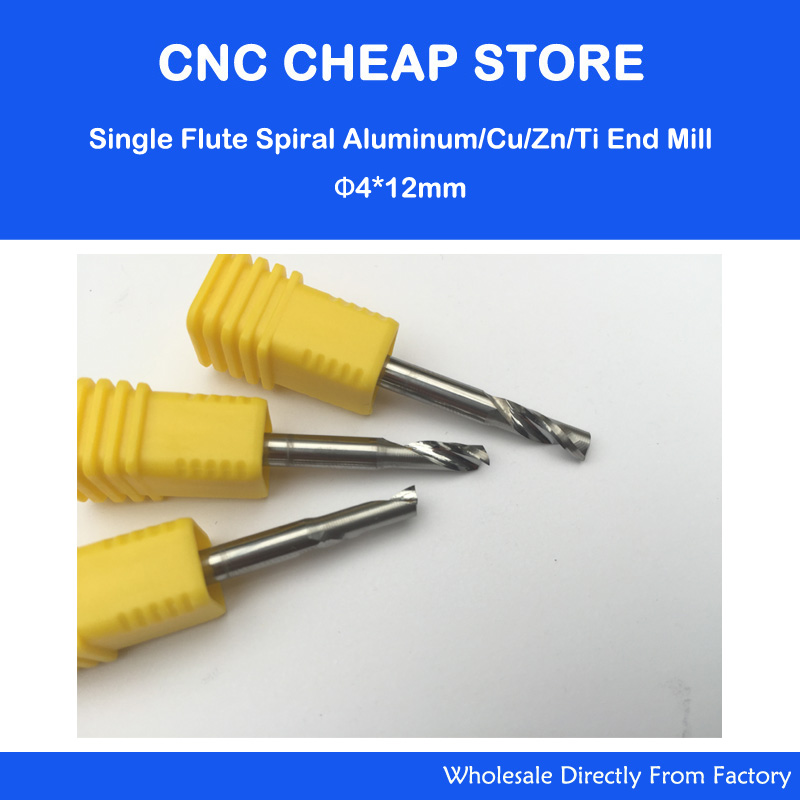 3pcs / lot New Single Blade Aluminium Cutting Single Flute CNC Router Bits 4mm 12mm free shipping 5pcs lot new 4mm hq carbide cnc router bits double flute aluminum cutting tools 3mm 8mm