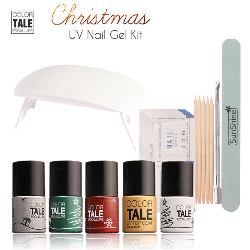 FOCALLURE 5Pcs 12ML Christmas Soak off UV Nail Gel Polish Kit with Nail Cleaner Remover Tools