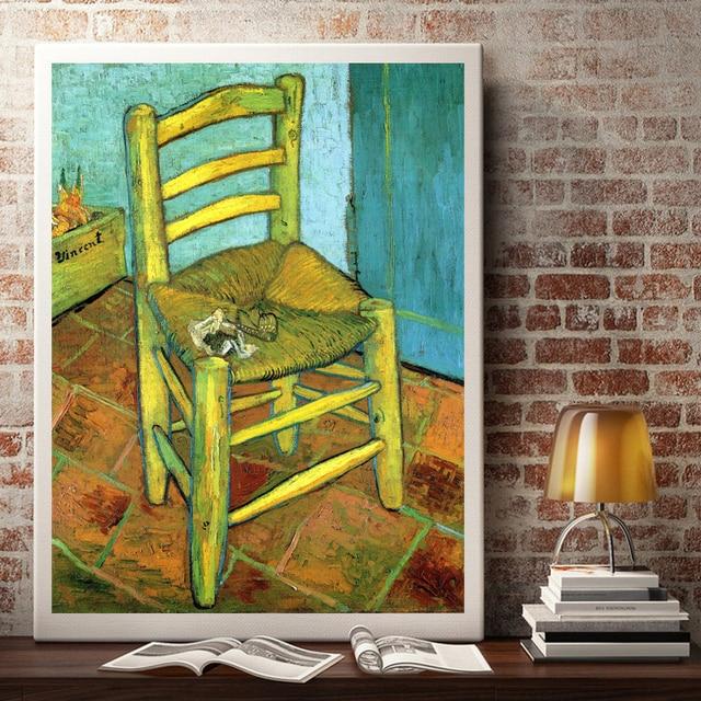 Vincent van Gogh silla clásica arte seda cartel imprimir Decoración ...